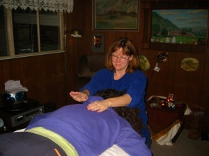 Here I am recieving a healing from HTP Julie Bergum.